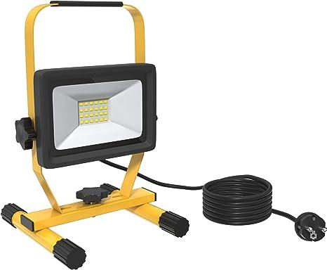Tragbar Au/ßenscheinwerfer LED Bauscheinwerfer Baulampe 6000K 1600LM IP65 Wasserdichte Fluter inkl Abnehmbare LED Baustrahler Bauscheinwerfer 20W Arbeitsleuchte Standgestell