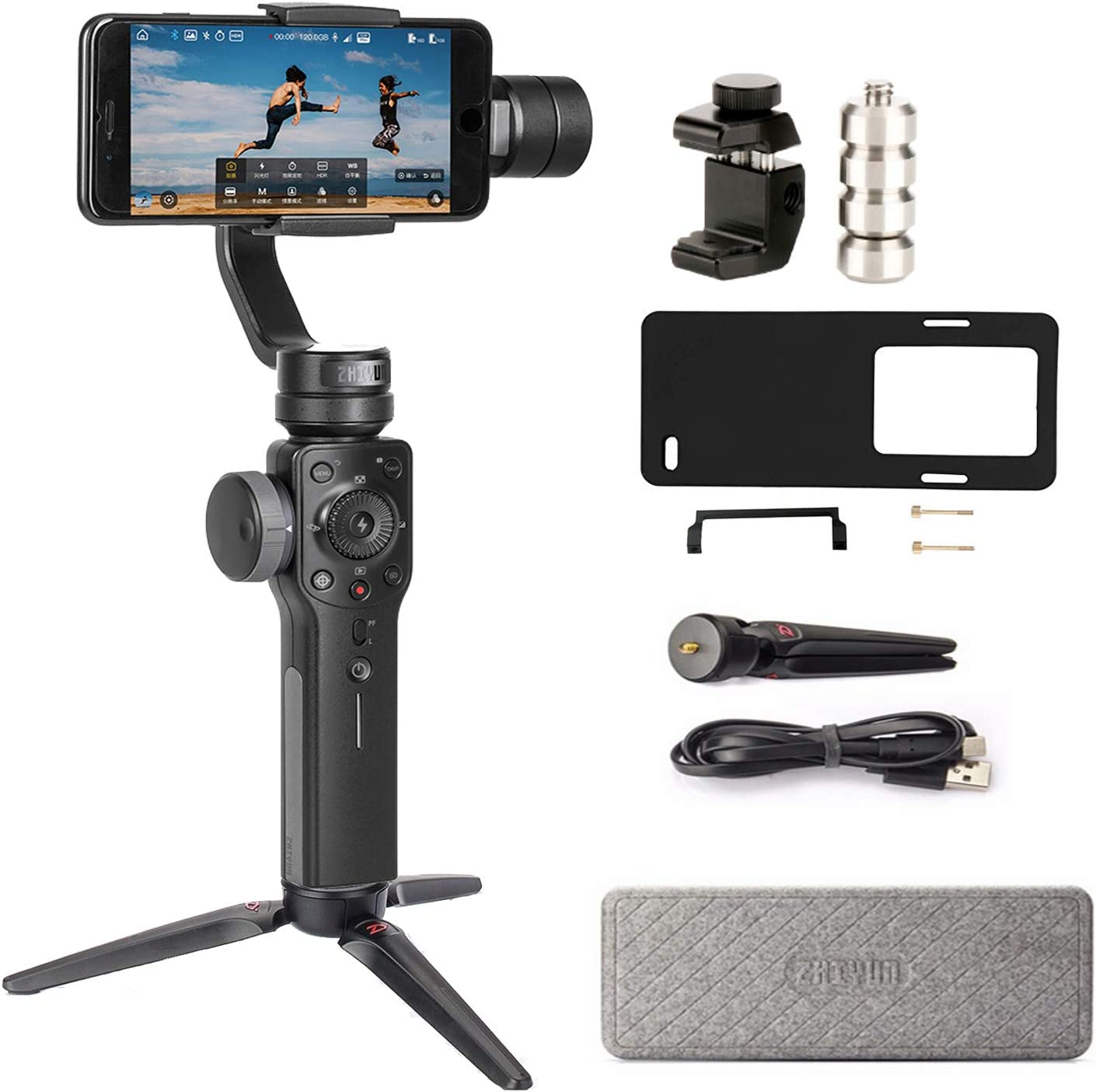 Amazon Com Zhiyun Smooth 4 3 Axis Smartphone Gimbal Stabilizer For Iphone 11 Pro Xs Max Xr X 8 Plus 7 6 Se Android Phone Filming Vlog Youtuber Live Video Record Plate Adapter For Gopro Counterweight