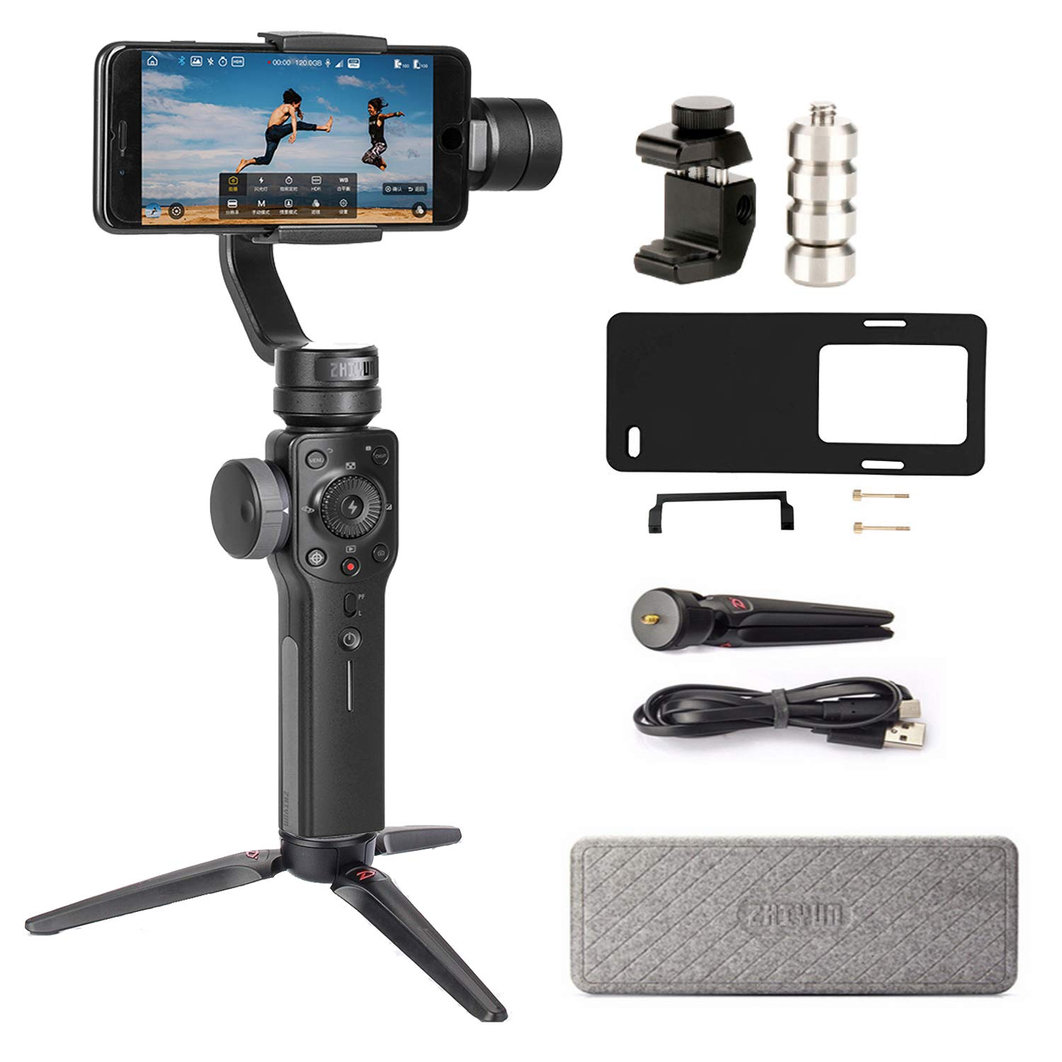 Zhiyun Smooth 4 3-Axis Handheld Gimbal Stabilizer Compatible FiLMiC Pro for iPhone Xs Max/Xs/X/8 Plus/7/SE Samsung Galaxy S9+/S8/S7 etc Smartphones(Gopro Adapter/Charging Cable/Counterweight Included) by zhi yun