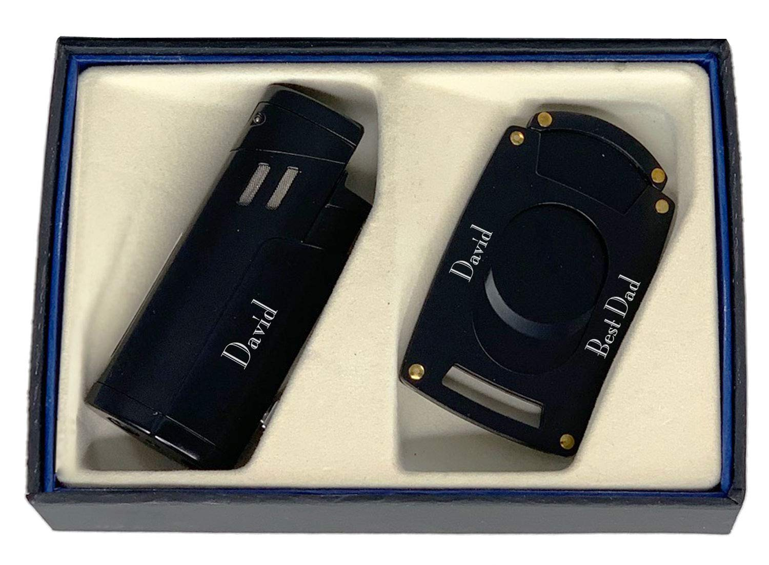Personalized Visol Shavano Cigar Lighter and Cutter Gift Set - Black with Free Laser Engraving