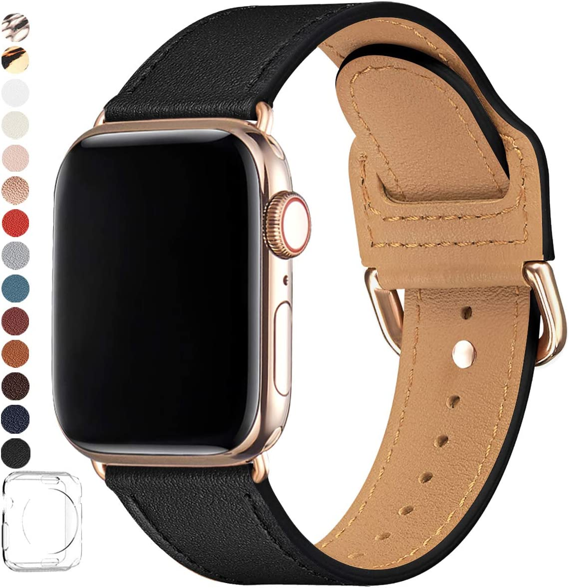 POWER PRIMACY Bands Compatible with Apple Watch Band 38mm 40mm 42mm 44mm, Top Grain Leather Smart Watch Strap Compatible for Men Women iWatch Series 6 5 4 3 2 1,SE (Black/Gold, 42mm/44mm)