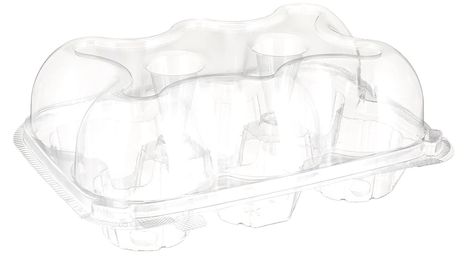 Oasis Supply 6-Compartment Hinged High Dome Clear Cupcake Container, Clear, 12-Pack WB 433KP456-12