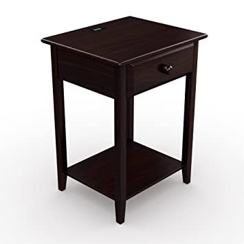 Stony Edge Night Stand End Accent Table, With USB Port. Espresso. 17