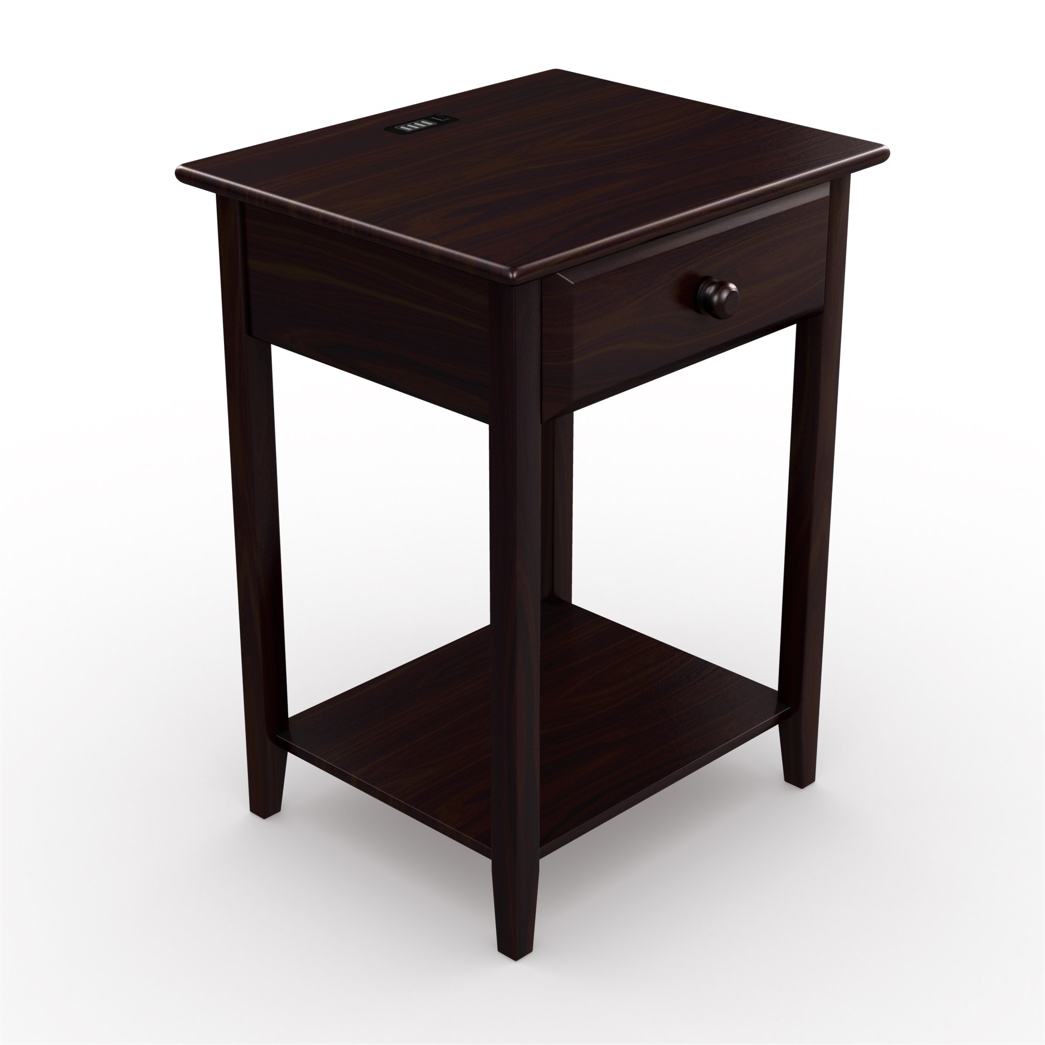 Stony-Edge Night Stand End Accent Table, with USB Port. Espresso. 17""