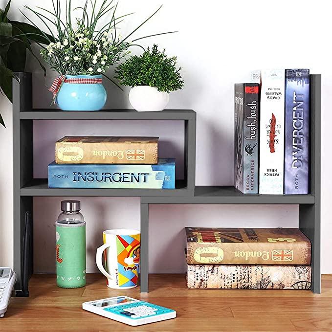 Cocoarm Desktop Bookshelf Adjustable Wooden Personalized Organizer with Drawer Home Decor Office Storage Display File Rack Stand Holder Table Counter Top Accessory