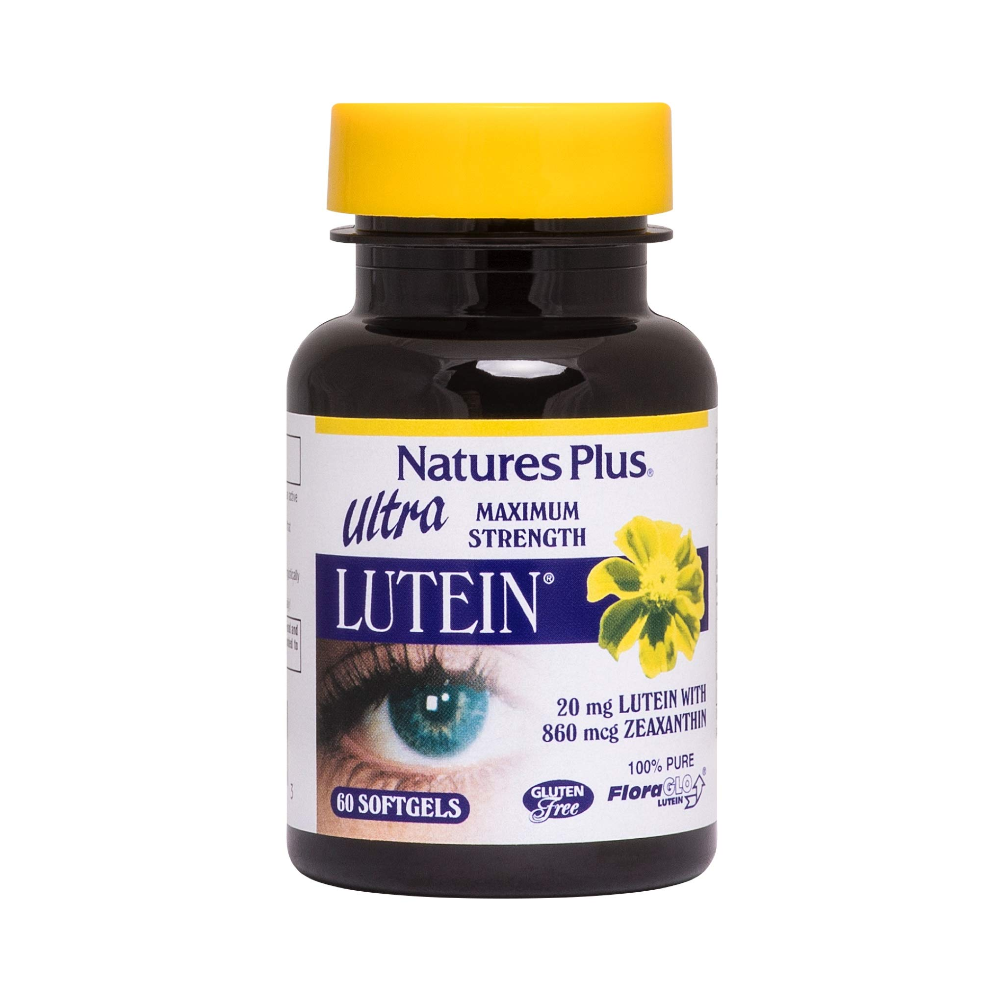 Natures Plus Ultra Lutein - 20 mg Lutein & 860 mcg Zeaxanthin, 60 Softgels - Eye Vitamin & Vision Supplement, Promotes Macular Health - Gluten Free - 60 Servings