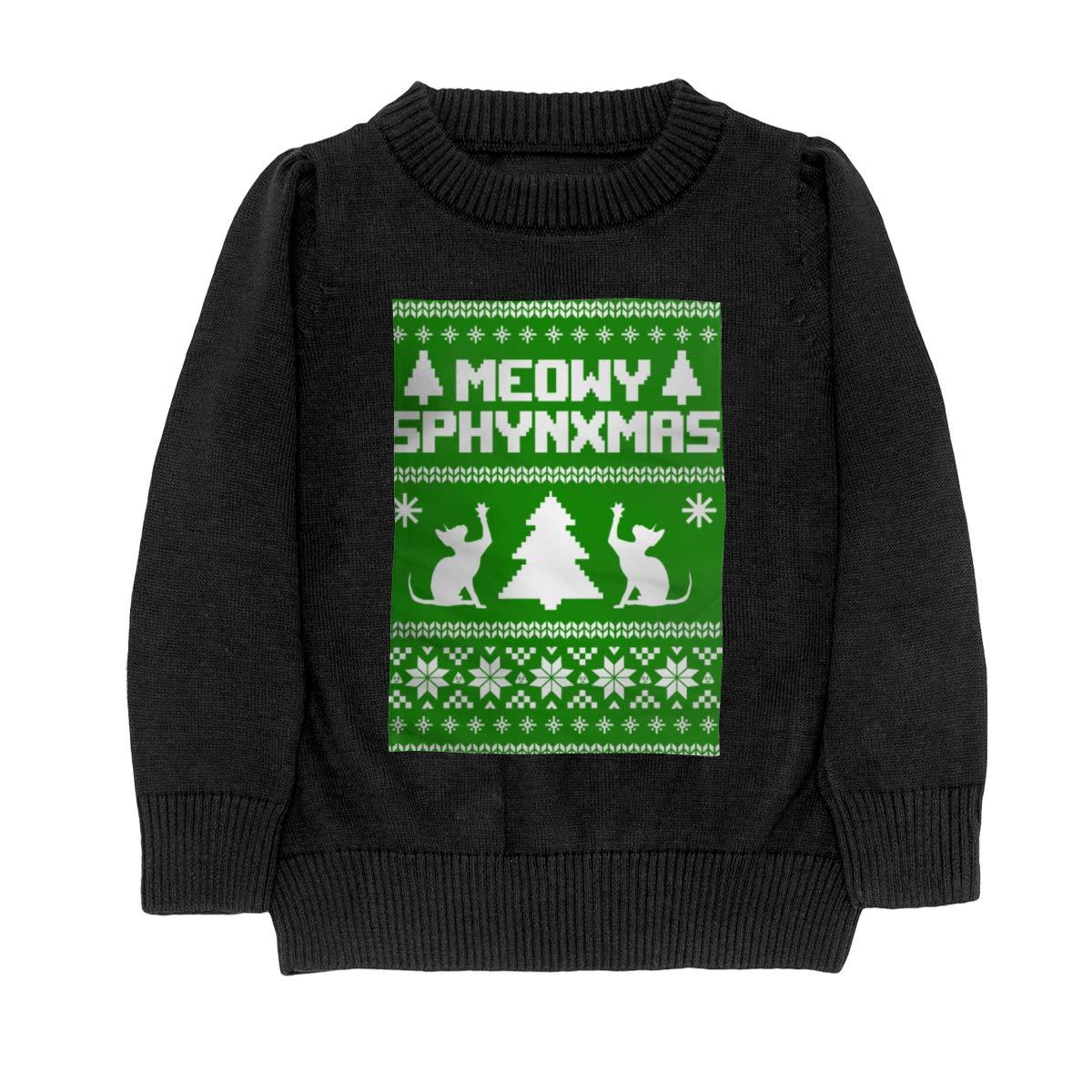 Moniery Meowy Sphynxmas Knit Sweater Pullover for Teenager Girls