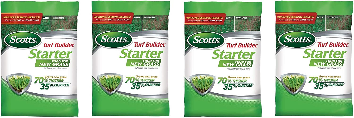 Scotts 21605 Lawn Food for New Grass, 5,000-sq ft (Not Sold in Pinellas County, FL) 5M Turf Builder Starter, 5,000 sq (Four Pack)