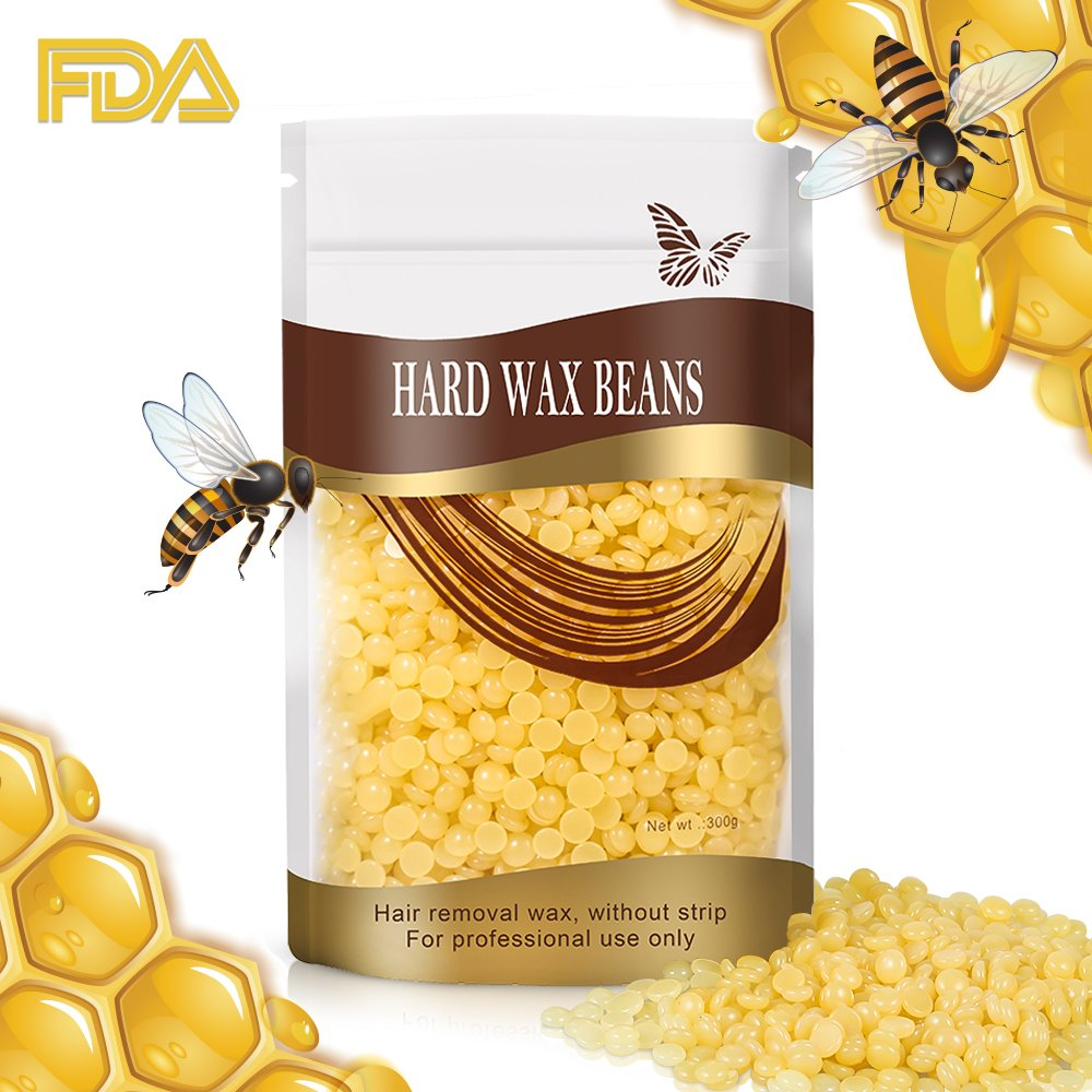 Natural Hard Wax Beans Hair Removal, Painless Bikini Waxing Beads, Natural Wax Beads for Women Men Home Waxing Best for Bikini Arms, Legs, Armpit, 300g/10 oz(Yellow) by MIYAY