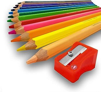 Buntstift Jumbo dicke Farbstifte Kunststoff Dreiecksstifte 12 Farben von EASY