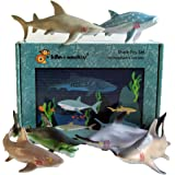 Lello & Monkey Shark Sea Creature Toy Animal Figures Boxed set of 6