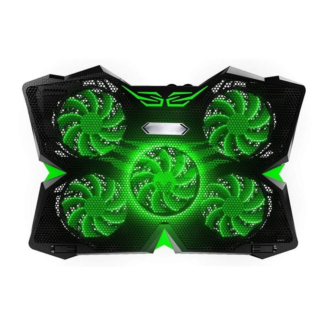 Color : Black Green Laptop Cooler, Laptop Base QTT Dual USB Interface,Multiple Fan Cooling Adjustable Bracket