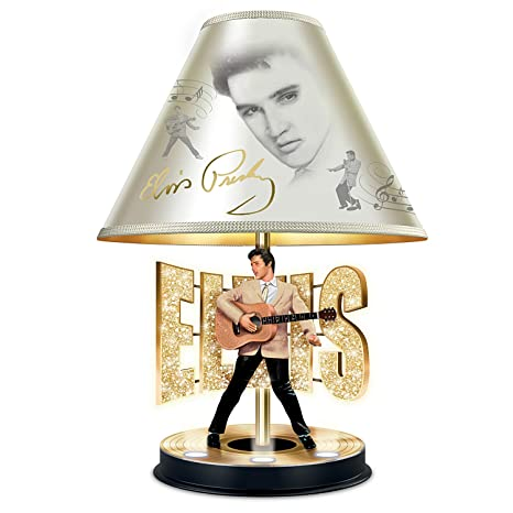 Elvis Presley Golden Legend Tabletop Lamp With Gold Record Stage Base  Lights Up By The Bradford