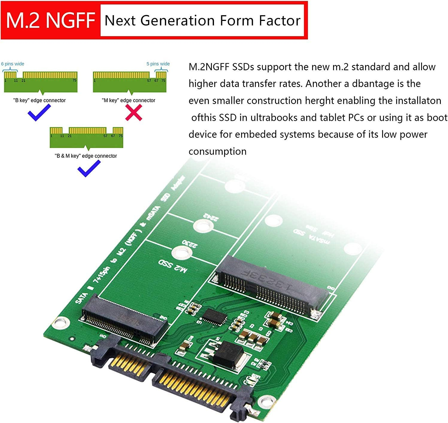 Cablecc Combo Mini PCI-E 2 Lane M.2 NGFF /& mSATA SSD to SATA 3.0 Adapter PCB