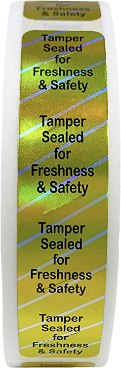 Red Food Delivery Tamper Sealed Evident Stickers0.75 x 3.5 Inches500 Pack