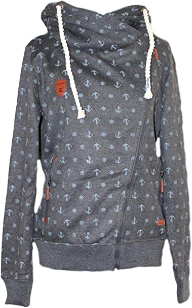 Be Cool Damen Hoodie Sweatjacke Jacke Kapuze Sweatshirt Anker Grau schräger Reißverschluss