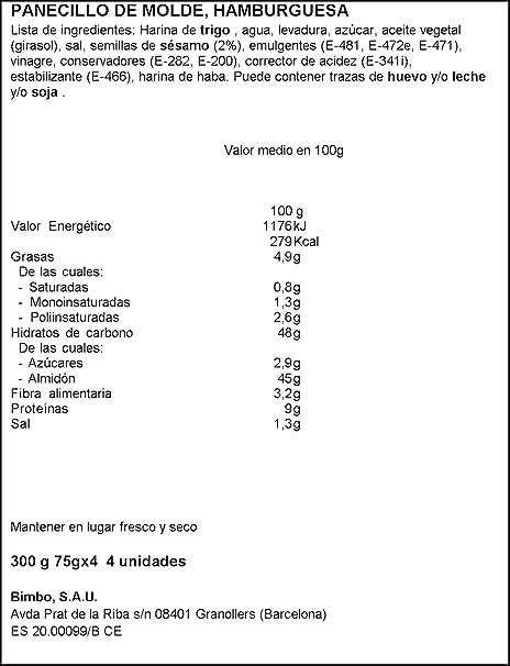 Bimbo - Maxi Burguer, Hamburguesa, (4 unidades) 300 g: Amazon.es: Alimentación y bebidas
