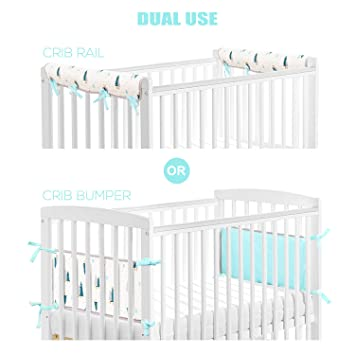 Amazon Com Brolex Dual Use Crib Rail Cover Crib Bumper Pads 2