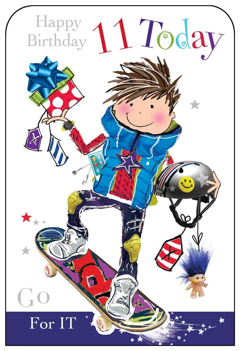 Boy age 11 skateboard birthday card amazon office products bookmarktalkfo Image collections