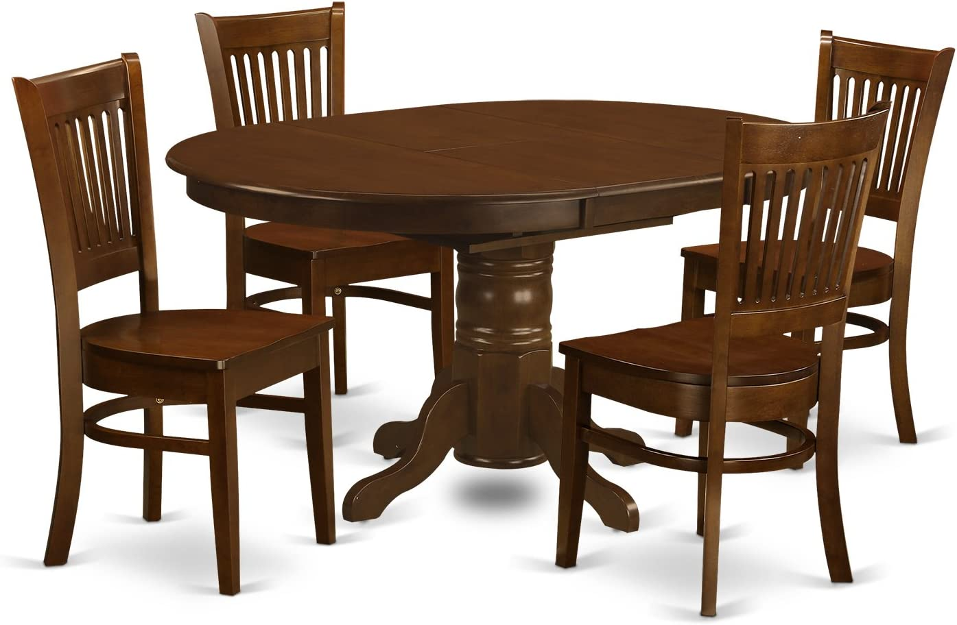 KEVA5-ESP-W 5 Pc set Kenley Dining Table with a Leaf and 4 Wood Kitchen Chairs