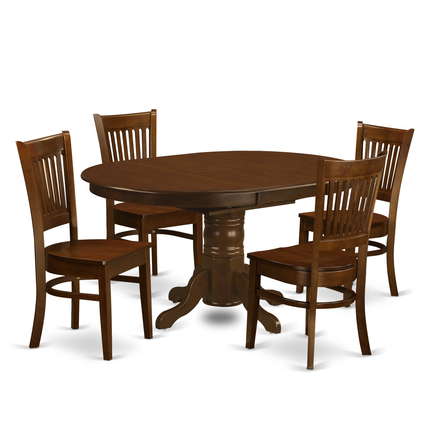 """East West Furniture KEVA5-ESP-W 5 Piece Set Kenley Dining Table with One 18"""" Leaf and 4 Wood Kitchen Chairs in Espresso"""