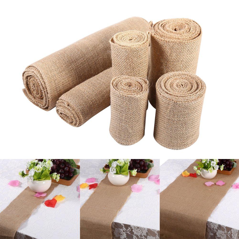 10cm*2m Vintage Nature rustique ruban de toile de jute de toile de jute pour bricolage Crafts Tissu//d/écoration//d/écoration//No/ël//f/ête de mariage