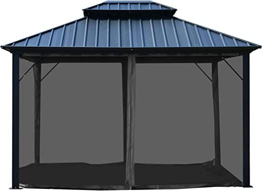 Aleko GAZM10X12 - Carpa de Techo Doble de Aluminio y Acero con mosquitera de 12 x 10 pies, Color Negro: Amazon.es: Jardín