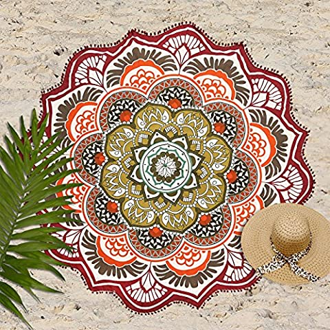 Exclusive Labhanshi Indian Mandala Round Roundie Beach Throw Tapestry Hippy Boho Gypsy Cotton Tablecloth , Round Yoga Mat Tassel (Indian Design Throw Rugs)