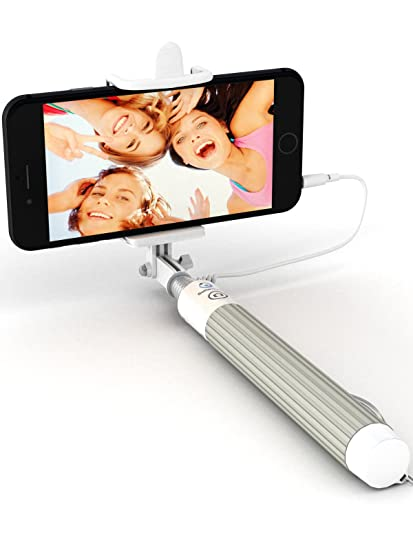 new style 93a0e f86e1 Premium 5-in-1 Wired Selfie Stick for iPhone 6 5, Samsung Galaxy S10 S9 S8  S7 S6 S5 - Takes Selfies in Seconds, Get Perfect HD Photos - No Apps, No ...