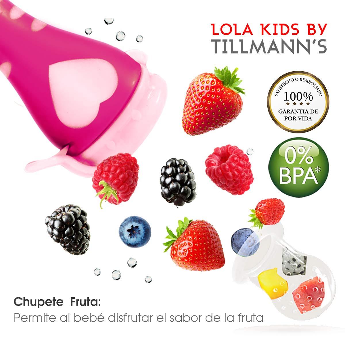 O³ Chupete Fruta – 2 Unidades con 6 Tetinas De Diferentes Tamaños – Rosa/Naranja – Alimentador Antiahogo Bebe Para Las Frutas y Verduras – Ayuda La ...