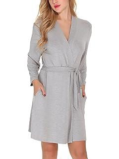 57231a03dc Etopstek Women Bathrobes Breathable Robes Soft Kimono Lightweight Short  Cotton Loungewear Hotel Spa Robes