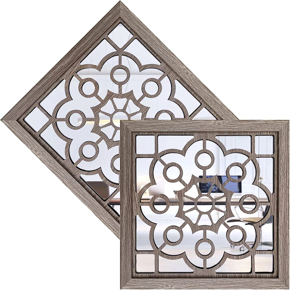 2PCS Square of Wall Mirror,Barn Wooden-Color of Decorative Mirrors, Rustic Farmhouse Accent Mirrors, Entry Mirrors for Bedroom, Applicable to Living Room Kitchen Bedroom Wall Decorate(12