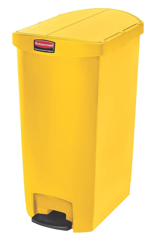 Rubbermaid Slim Jim 1883455 15 Litre Front Step Step-On Resin Wastebasket - Beige Newell Rubbermaid