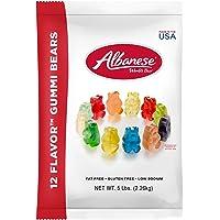 Albanese Candy 12 Flavor Gummi Bears 5 Pound Bag, Assorted Gummi Bears: Cherry, Pink Grapefruit, Watermelon, Strawberry, Orange, Blue Raspberry, Lime, Grape, Green Apple, Mango, Pineapple, Lemon