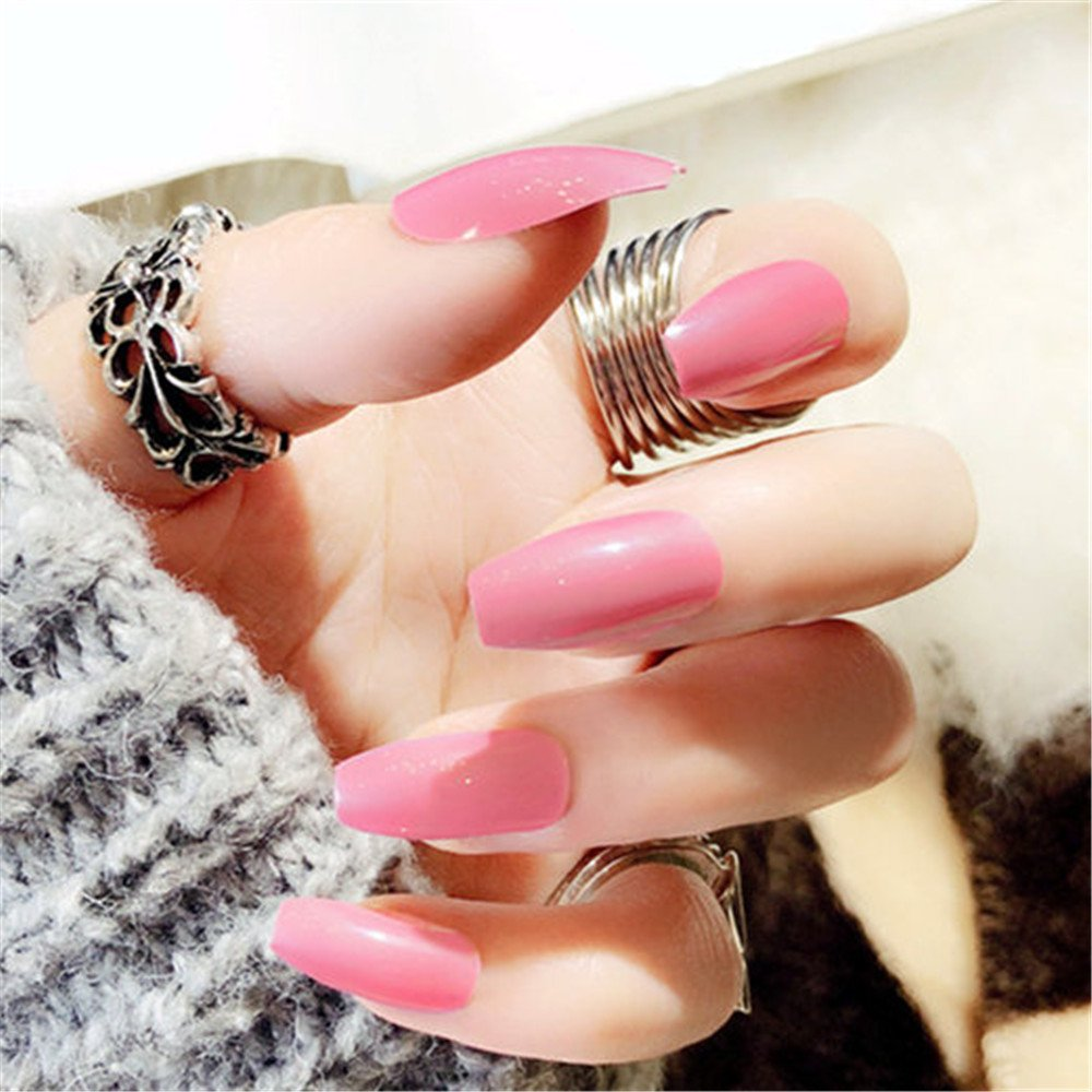 BloomingBoom False Nail Long Coffin 24 Pcs 12 Size Fake Nails Faux Ongle Full Cover Fake Nail Press on Salon Pre Design Women Ballerina Pure Color Already Colored Elegant Pink Rose Ltd