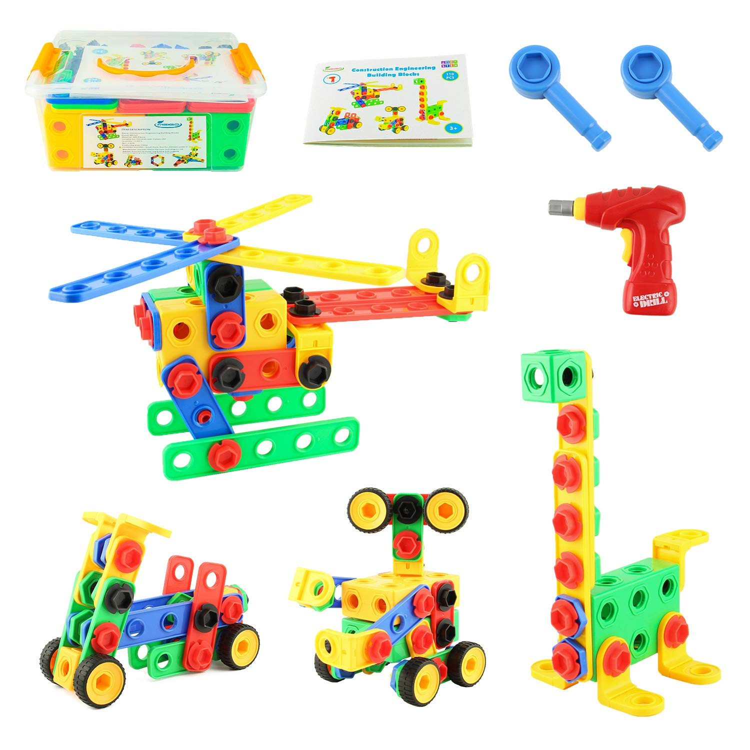 MEIGO STEM Toys - Toddlers Educational Construction Engineering Building Blocks Set Best Learning Toy Gift Kit for Kids 3 4 5 6 7 8 9 10 Year Old Boys Girls (110pcs)