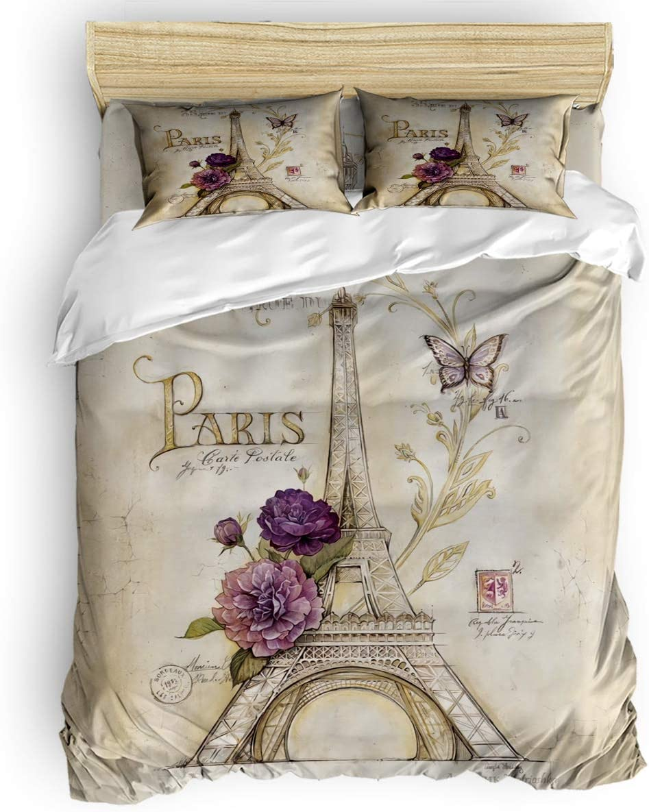King Bedding 4PC Bed Sheet Set 1 Flat Sheet,1 Duvet Cover,and 2 Pillowcases,Retro The Eiffel Tower of Paris Duvet Cover Set for Women Men Bedroom Collection