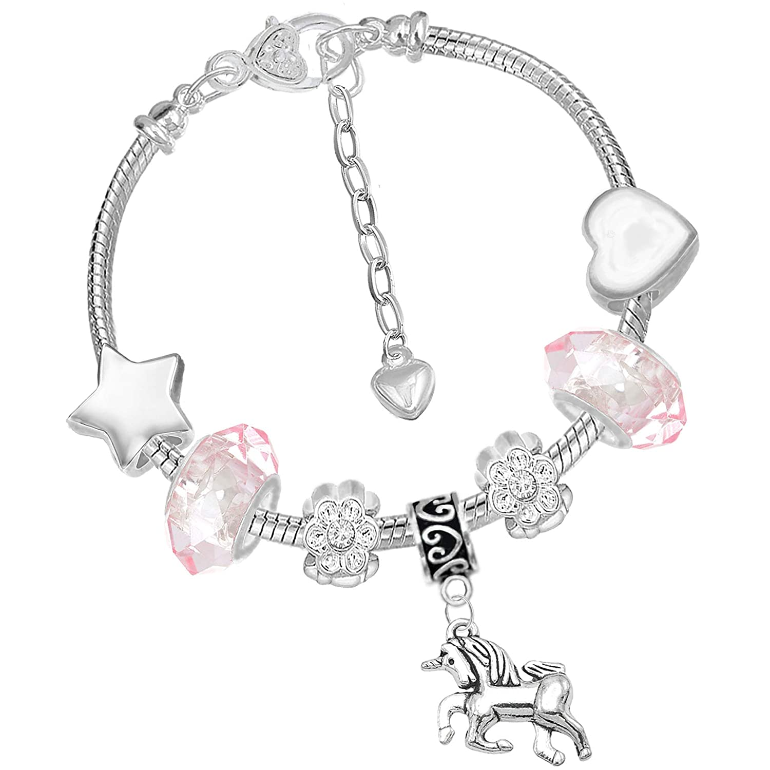 Girls Magical Unicorn Sparkly Pink Crystal Charm Bracelet with Gift Box Set Charm Buddy ® NXG-3 CH-71 Q-32