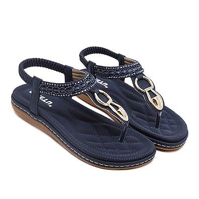 Fashion Leather Women Sandals Bohemian00 Diamond Slippers Woman Flats Flip Flops Shoes Summer Beach Sandals Size10