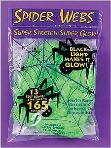 DEPT.8 Black Light Glow Green Spider Web Super Stretch Super Scary Indoor/Outdoor Halloween Decoration - 13 Ft Long (165 Sq Ft)