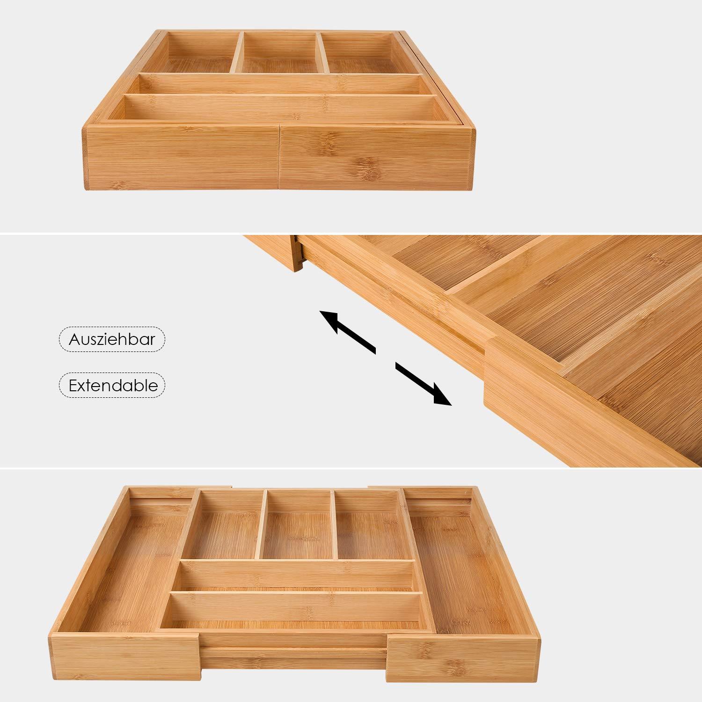 Homfa Bambus Besteckkasten ausziehbar 7 F/ächer Besteckfach/f/ür Schubladen Schubladeneinsatz als K/üchenorganizer Besteckeinsatz verstellbar 30-50x40x5cm BxTxH
