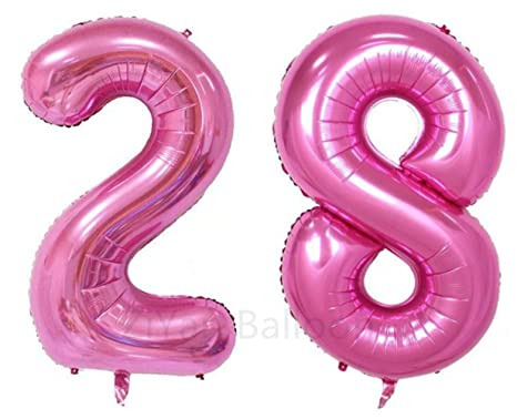 Amazon.com: Ziyan 40 inch gigante 28th Rosa Número de globos ...