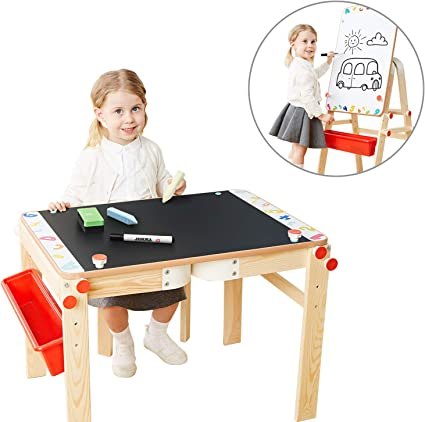 Amazon Com Top Bright Wooden Art Easel For Kids Art Table With