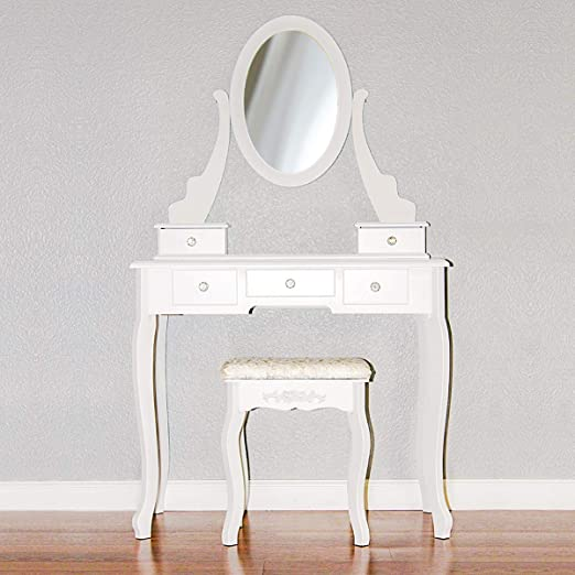 Amazon Com Makeup Vanity Table Set Women Girls Oval Mirror Dressing Desk Modern Vanity Set With Cushioned Stool 5 Drawers White Kitchen Dining