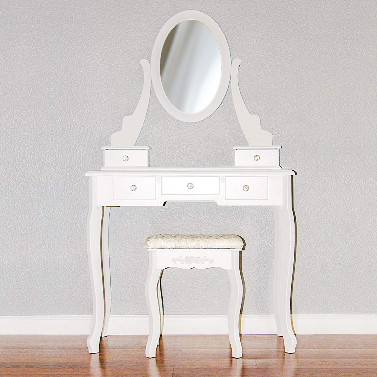 Makeup Vanity Table Set Women Girls Oval Mirror Dressing Desk Modern Vanity Set with Cushioned Stool 5 Drawers White