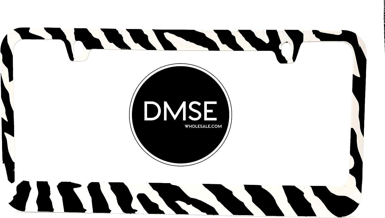 DMSE Zebra Black and White Stripes Animal Print Universal Metal License Plate Frame Cool Decorative Design For Any Vehicle (Zebra)