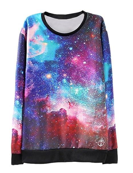 Ninimour Sudaderas con impresión estampado 3D Galaxy Floral Starry Print Sweatshirt Hoodies para Mujer: Amazon.es: Ropa y accesorios