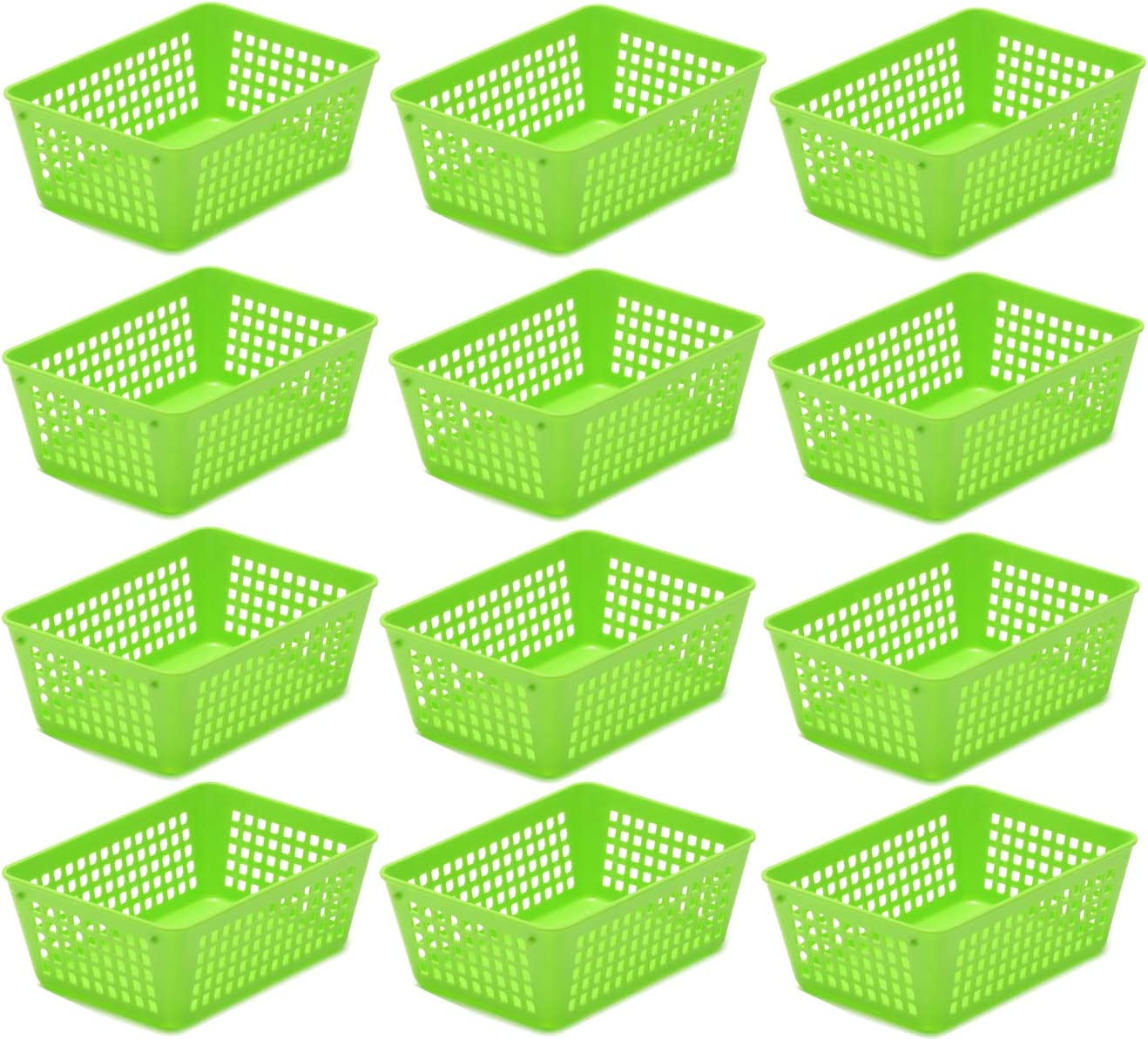 Ybmhome Plastic Storage Supply Basket for Office Drawer, Shelf Desktop, Home Junk Drawers, Kitchen Pantry Or Countertop - Bins Trays for Office Home and School Classrooms 32-1181-12-green (Green, 12)