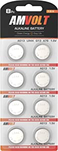 LR44 AG13 Battery - [Ultra Power] Premium Alkaline 1.5 Volt Non Rechargeable Round Button Cell Batteries for Watches Clocks Remotes Games Controllers Toys & Electronic Devices
