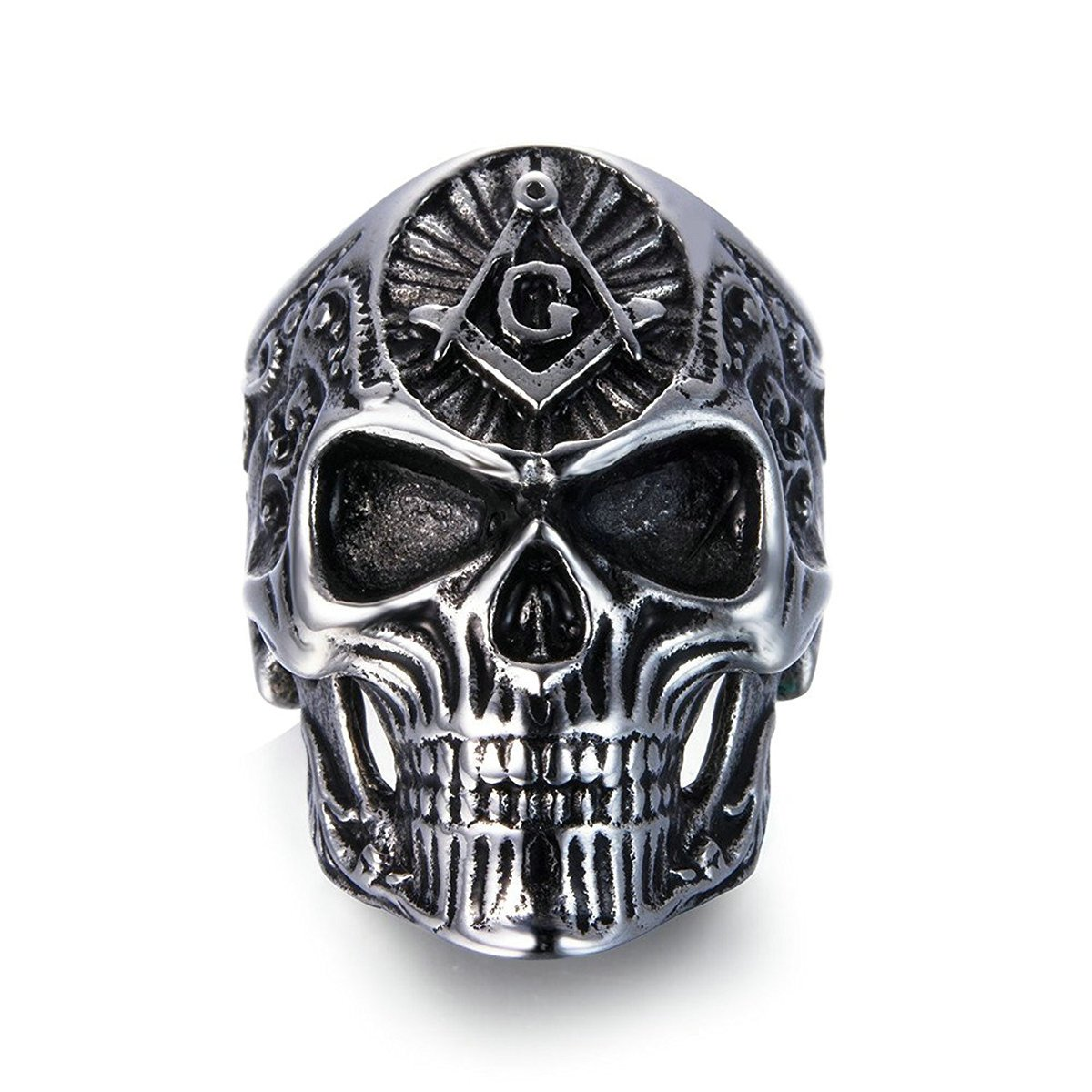 Men's Skull Rings Stainless Steel Masonic Freemason Band Biker Ring Black Silver Size 13